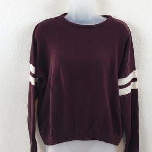 Brandy Melville Stripe Sleeve Cotton Sweater OS